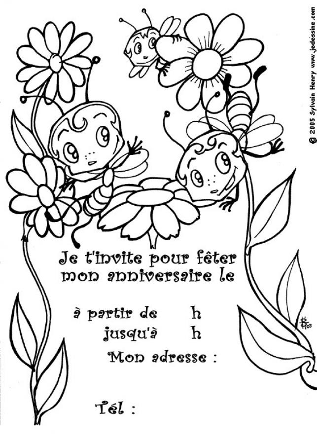 Coloriage Invitation Anniversaire.Dessin Carte D Invitation