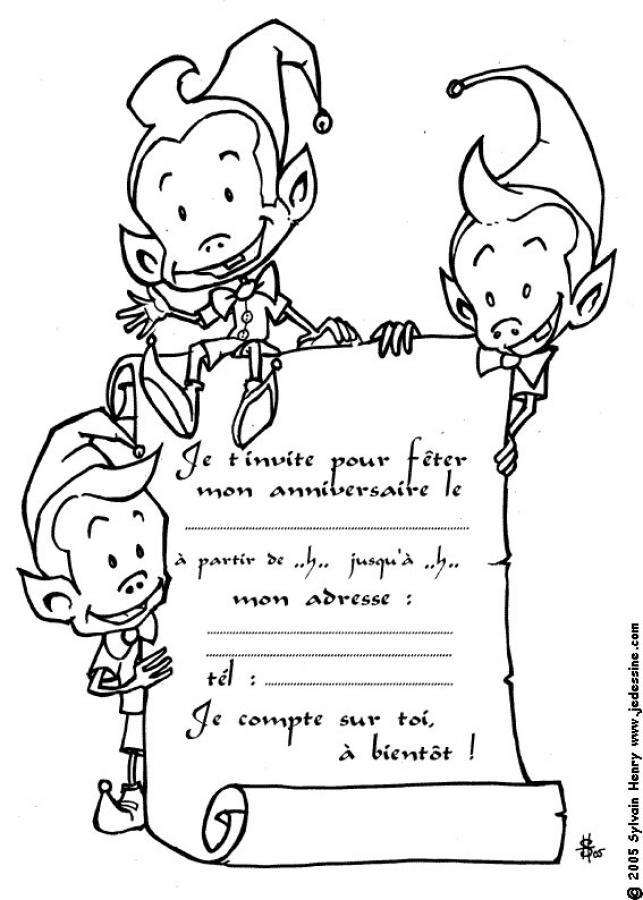 dessin à colorier cartes d'invitation pour anniversaire