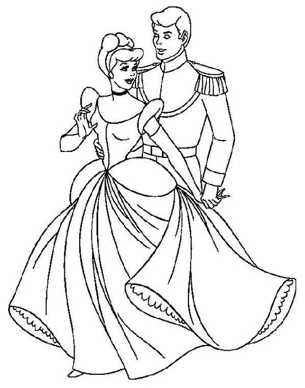 19 dessins de coloriage cendrillon et son prince imprimer - Coloriage de prince ...