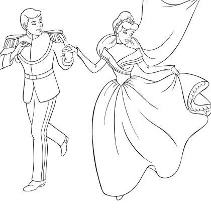 19 dessins de coloriage cendrillon et son prince imprimer - Blanche neige et son prince ...