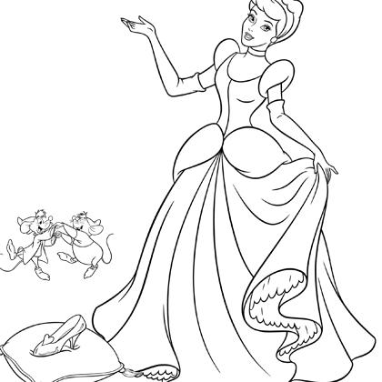 dessin à colorier cendrillon et blanche neige