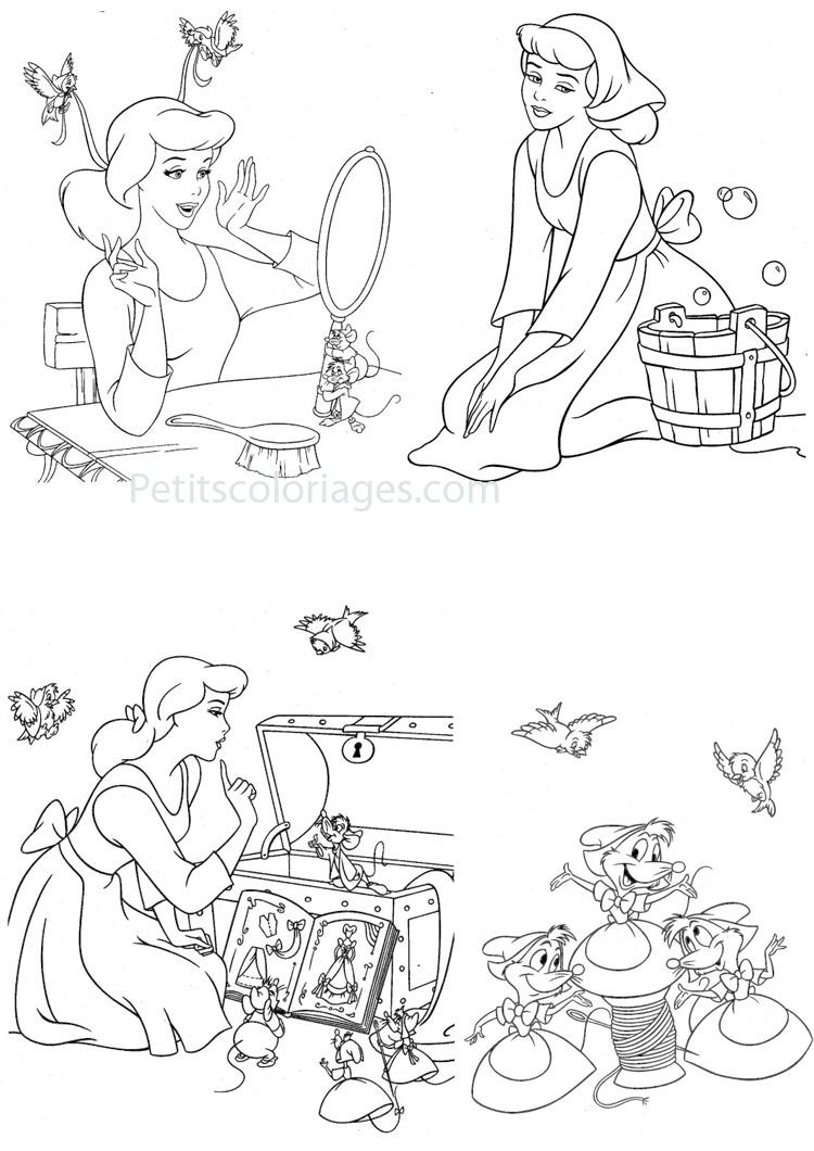 dessin souris cendrillon à imprimer