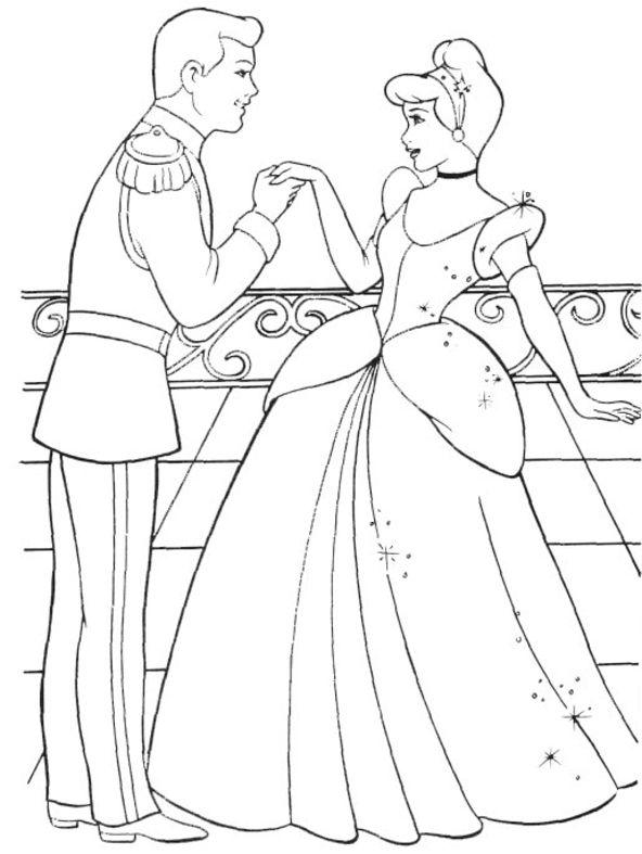 Dessin ã Colorier ã Imprimer Cendrillon Et Son Prince
