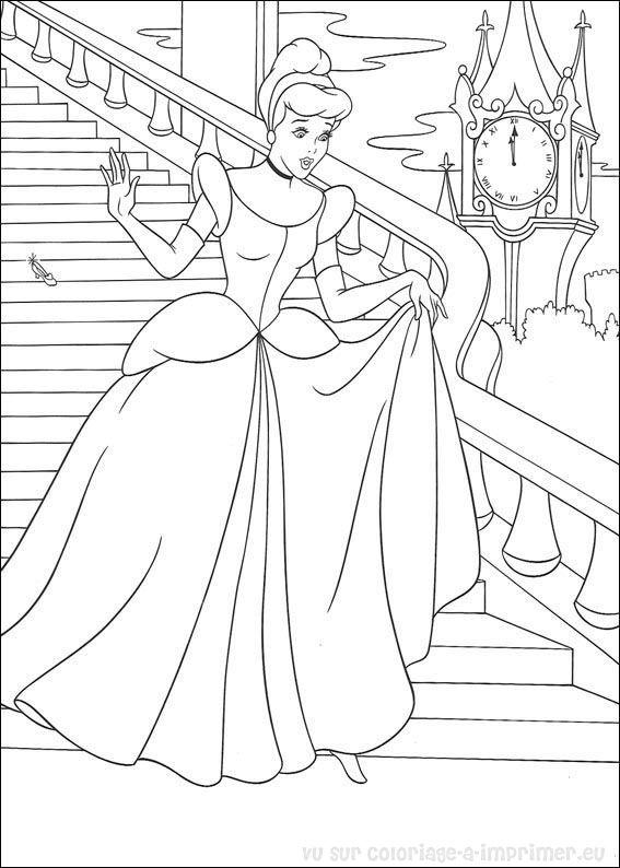 dessin à colorier a imprimer cendrillon disney