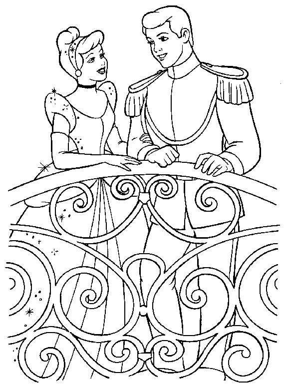 Dessin cendrillon et le prince charmant - Coloriage cendrillon en ligne ...
