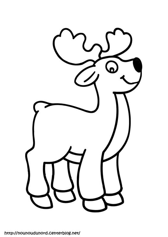 19 dessins de coloriage cerf a imprimer imprimer - Dessin renne de noel ...