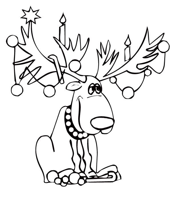 19 dessins de coloriage cerf de noel imprimer - Dessin renne de noel ...