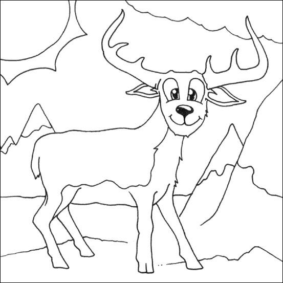 coloriage à dessiner cerf qui brame