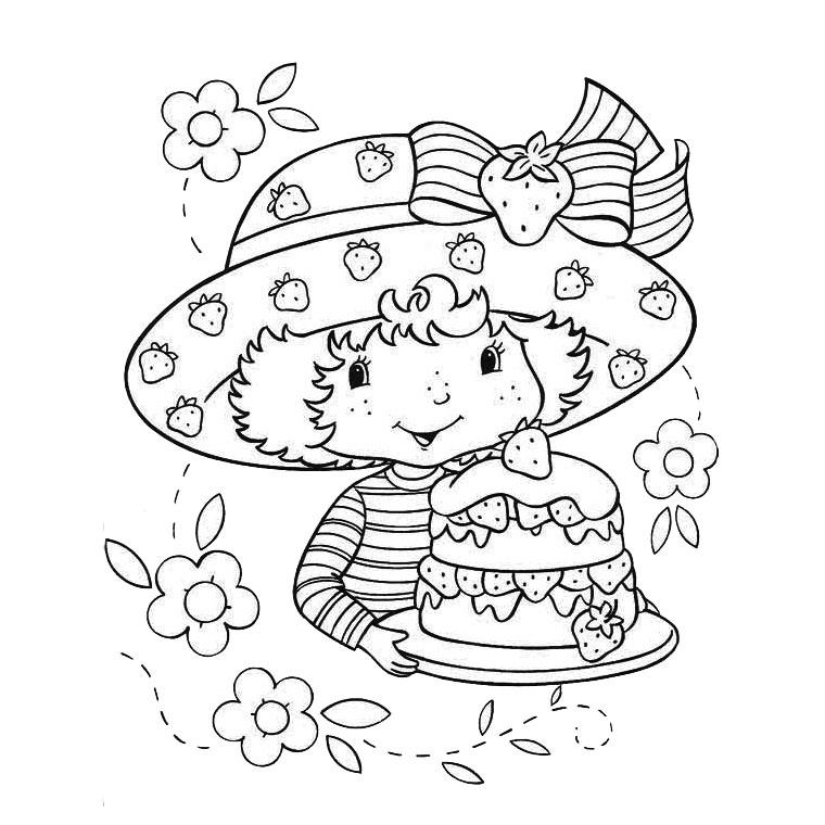 dessin à colorier charlotte aux fraises et caramiel