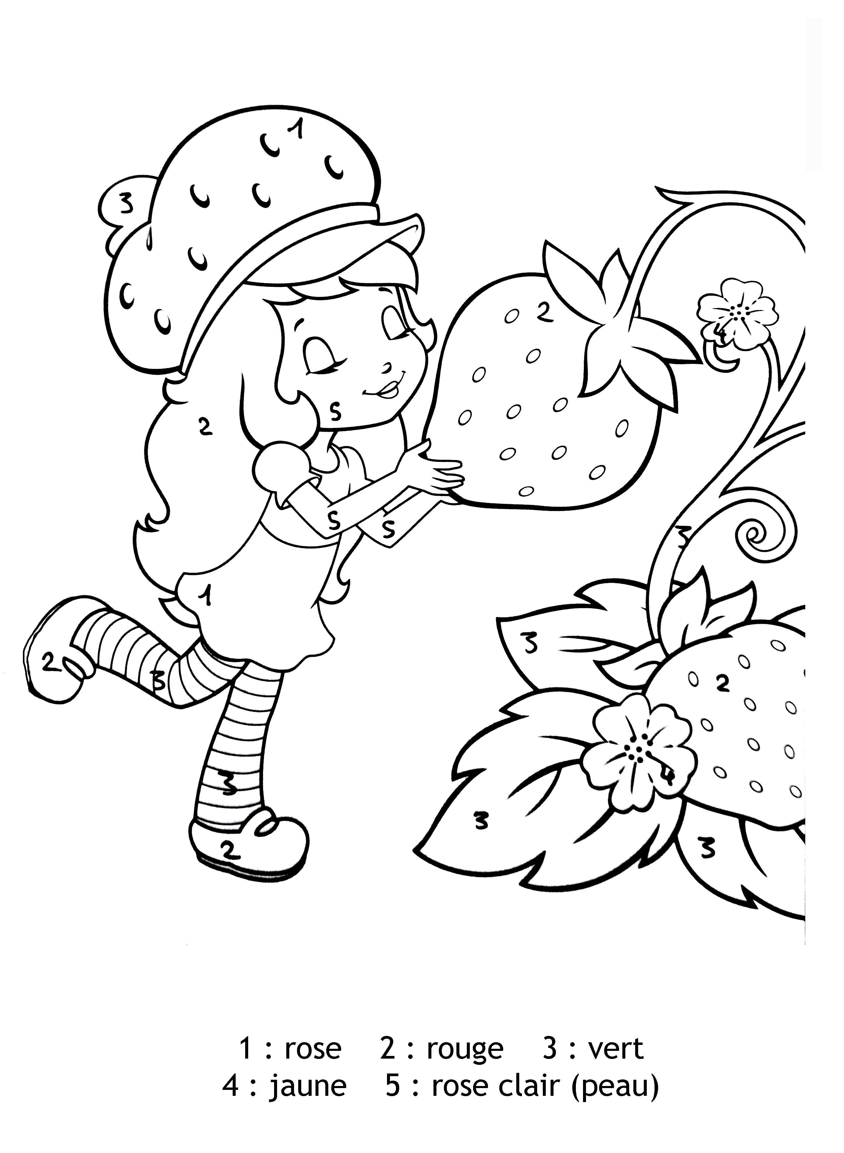 dessin à colorier de charlotte aux fraise et ses amis