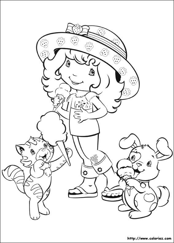 coloriage à dessiner charlotte aux fraises et ses amies