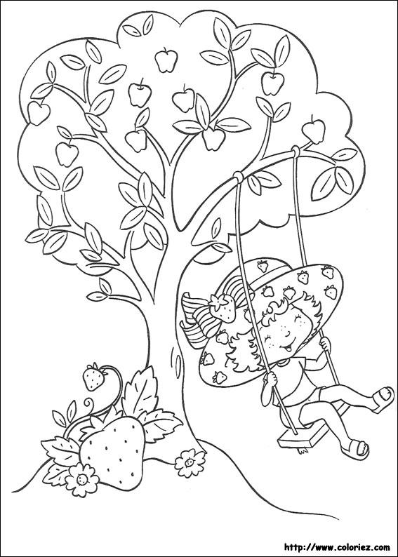 coloriage à dessiner charlotte aux fraises gratuit à imprimer