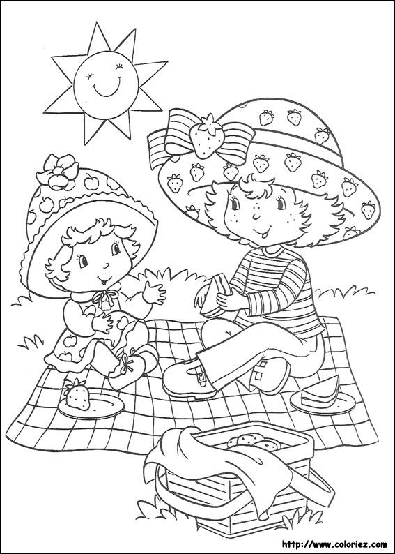 dessin à colorier charlotte aux fraises a la mer