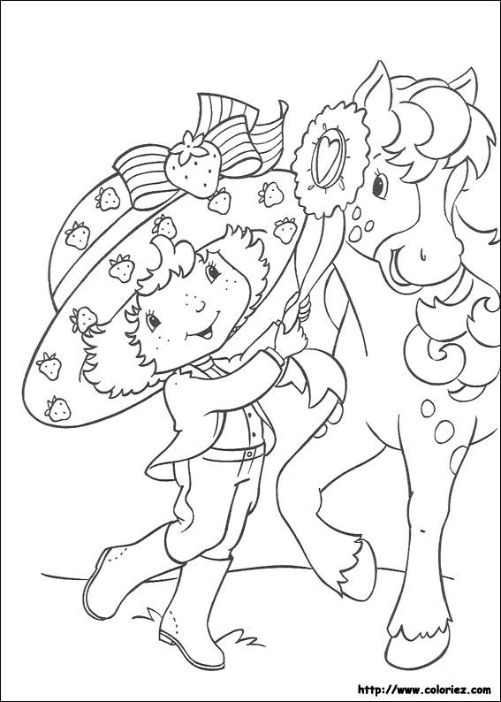 coloriage à dessiner charlotte aux fraises avec son cheval