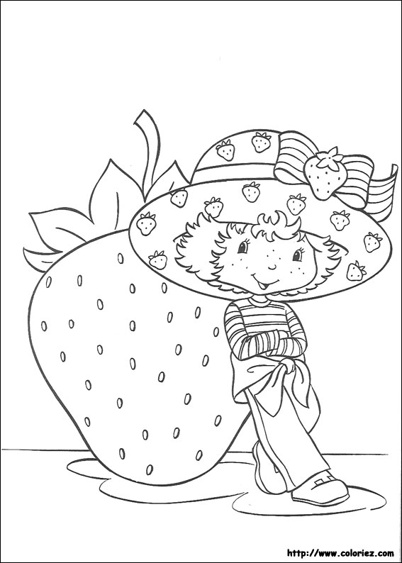 dessin à colorier charlotte aux fraises à la plage