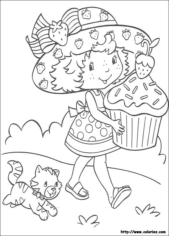 dessin à colorier charlotte aux fraises noel