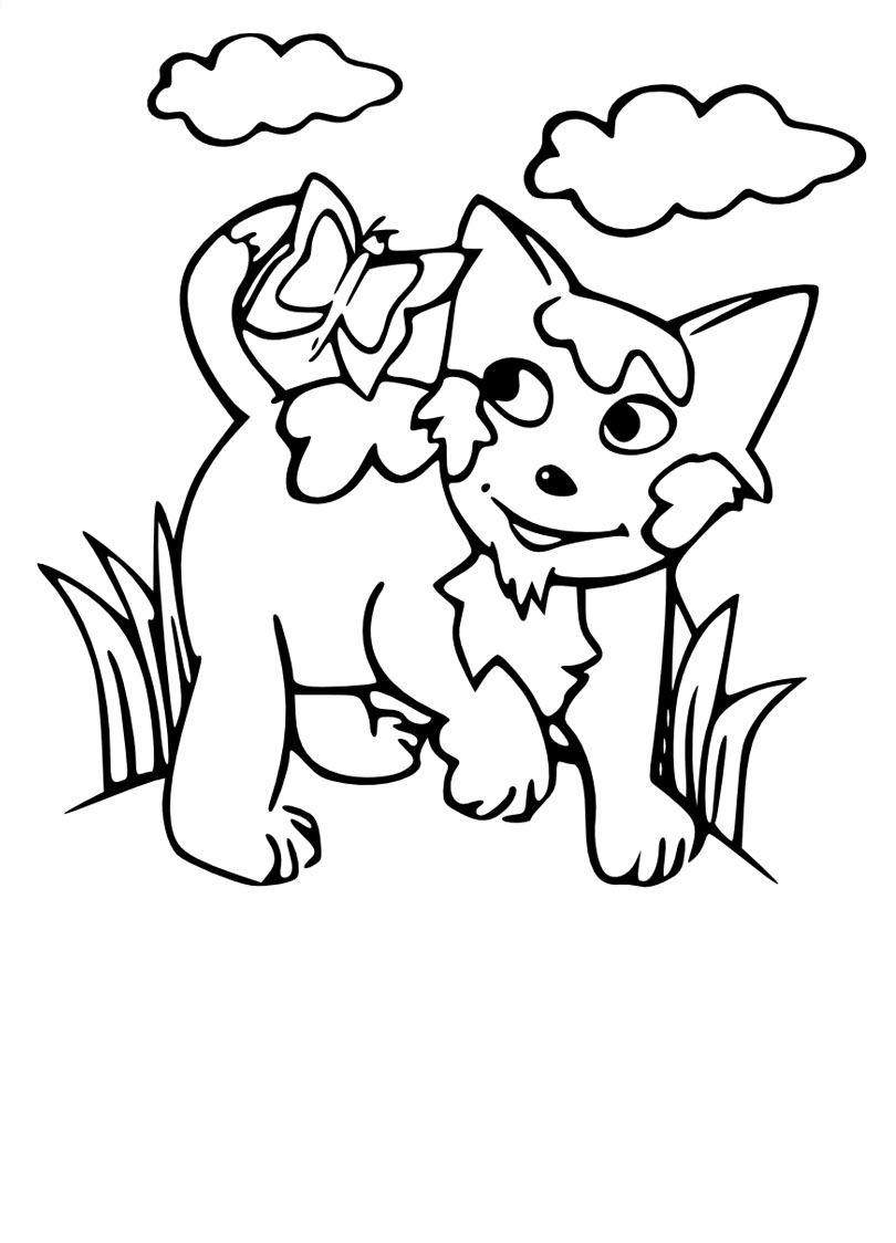 Chat coloriage ligne - Coloriage de chat ...