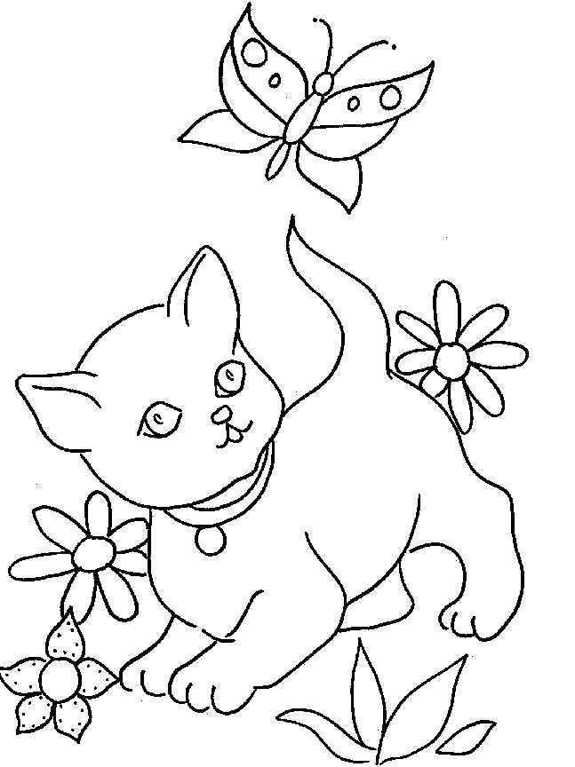 coloriage chat dans un panier