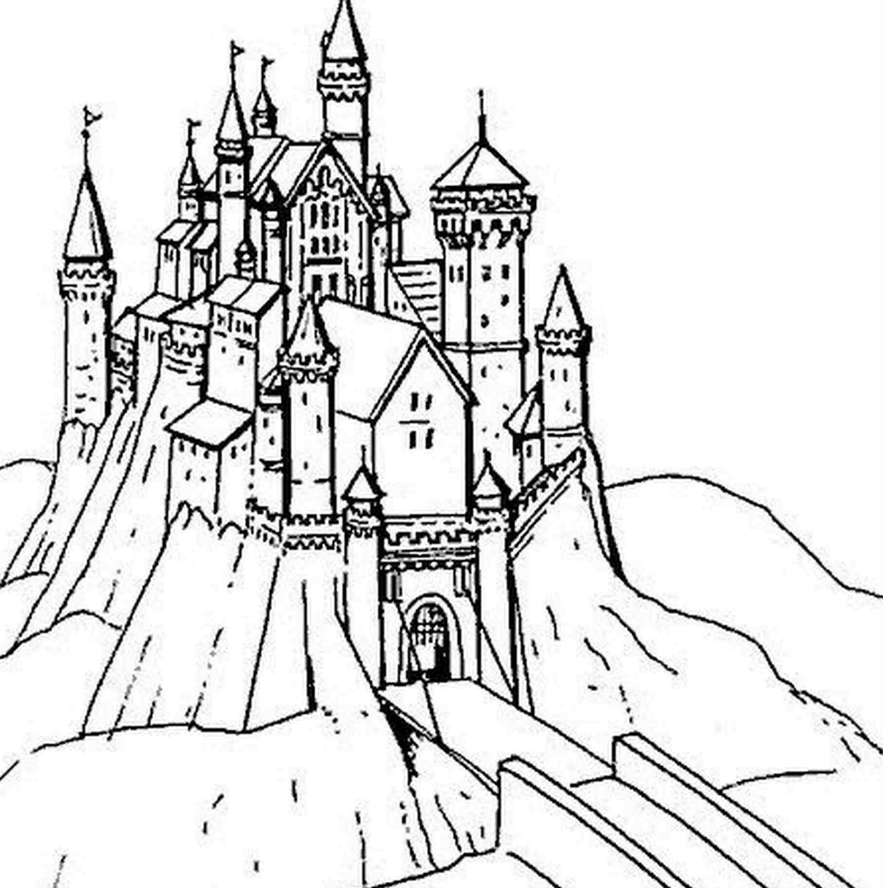 19 dessins de coloriage chateau a imprimer imprimer - Chateaux dessin ...