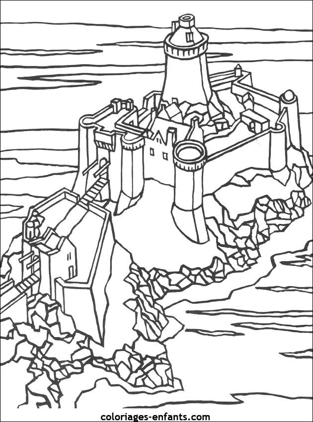 20 dessins de coloriage chateau fort imprimer imprimer - Coloriage chateau chevalier ...
