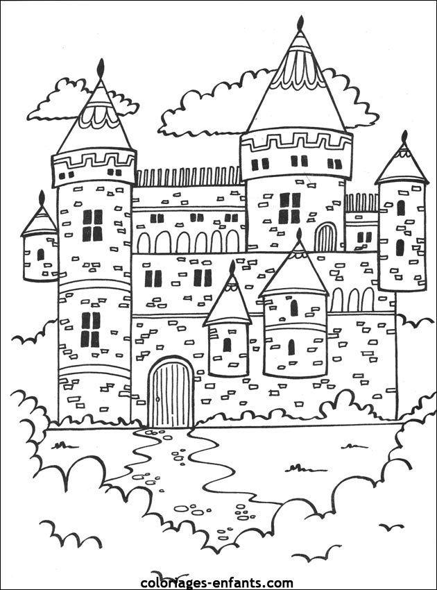 Dessin chateau fort hugo l 39 escargot - Coloriage de chateau ...