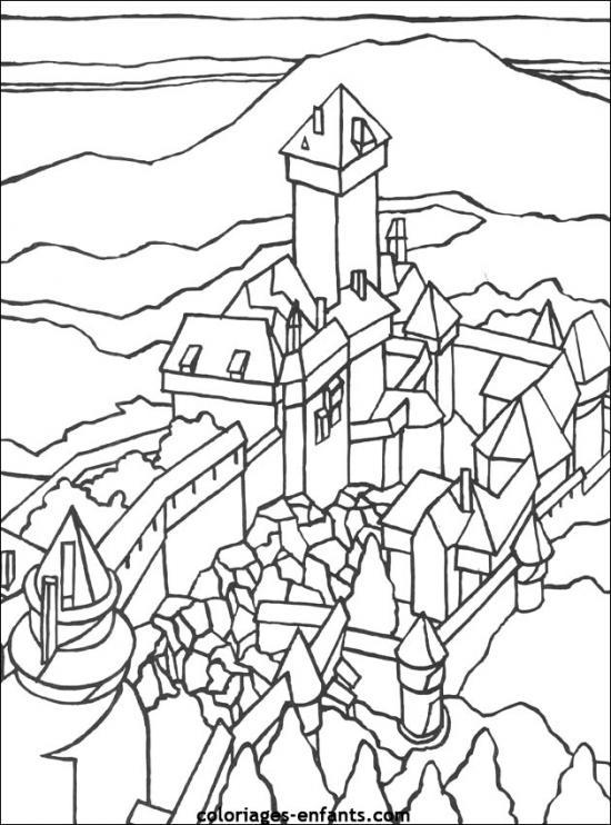 coloriage à dessiner magique chateau fort maternelle
