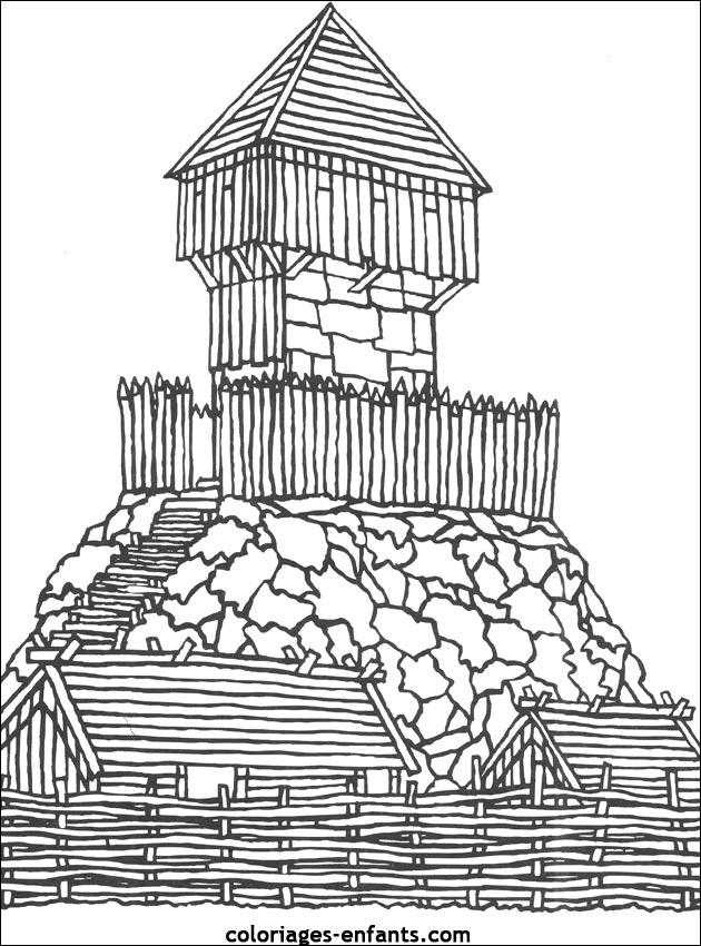 dessin à colorier chateau fort et chevalier