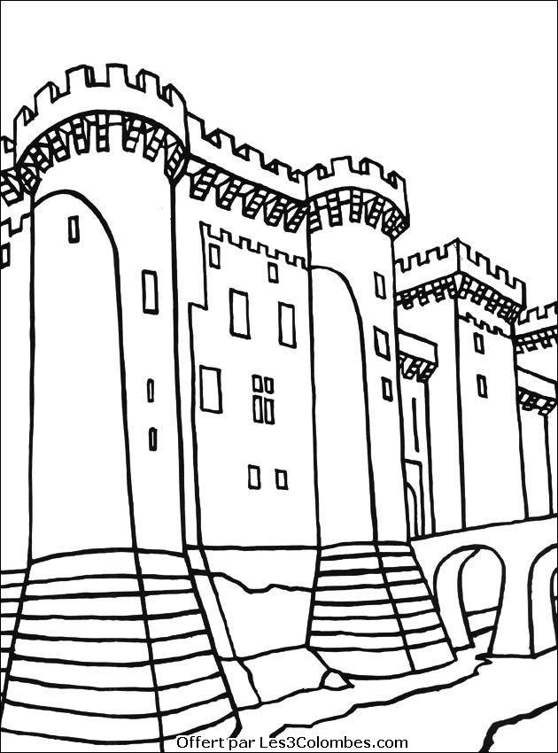 dessin à colorier de chateau fort avec chevaliers