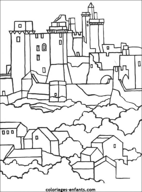 dessin à colorier magique chateau fort maternelle