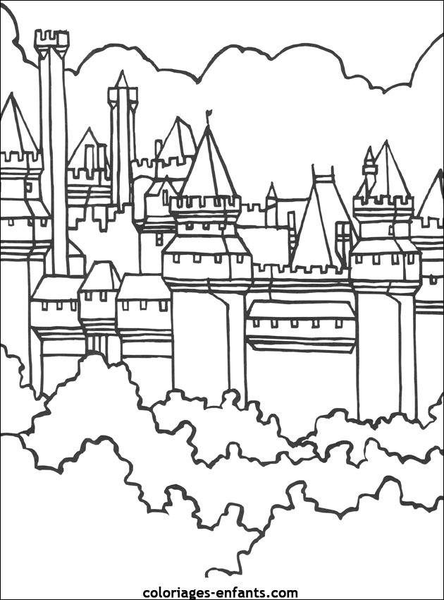 dessin à colorier chateau fort moyen age