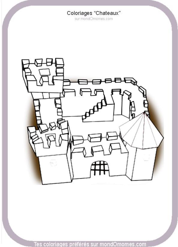 coloriage à dessiner chateau fort playmobil