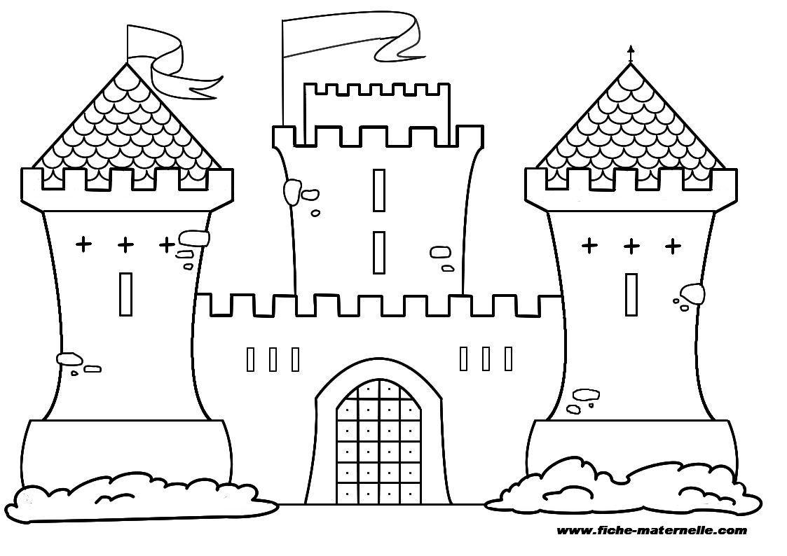 dessin à colorier chateau fort du moyen age