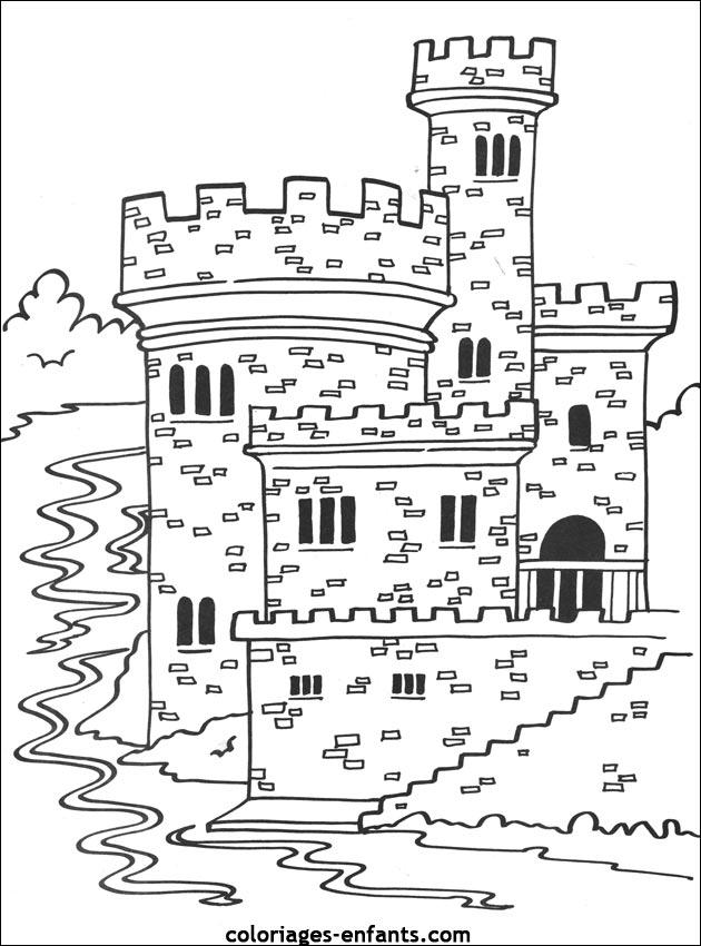 coloriage magique chateau fort