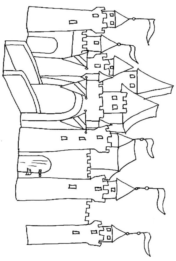modele dessin à colorier chateau fort