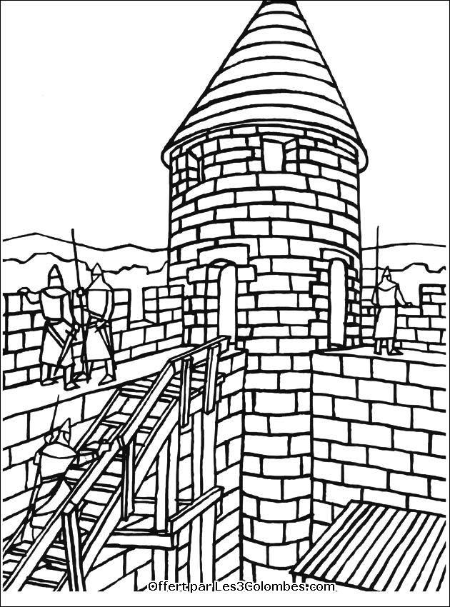 dessin à colorier chateau fort maternelle