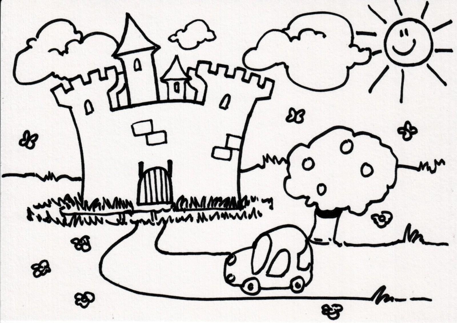 dessin à colorier magique chateau fort