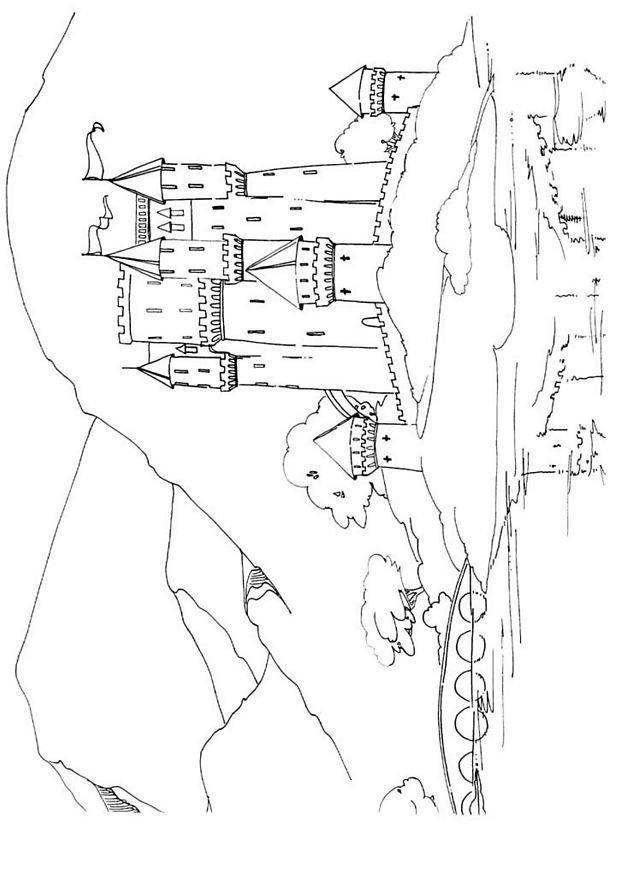 coloriage à dessiner princesse dans son chateau