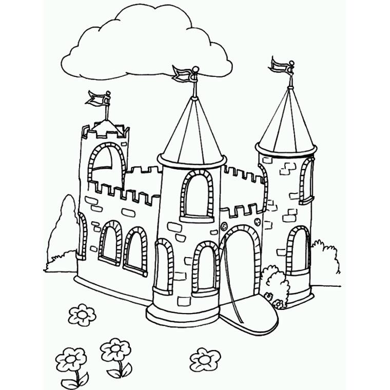 20 dessins de coloriage chateau imprimer - Dessiner un chateau de princesse ...