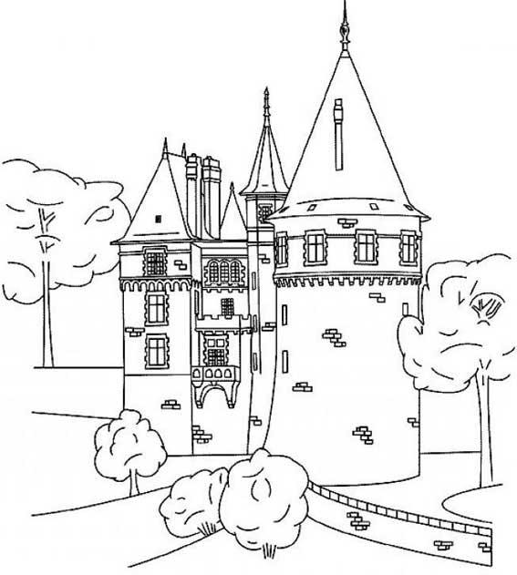 dessin � colorier chateau halloween