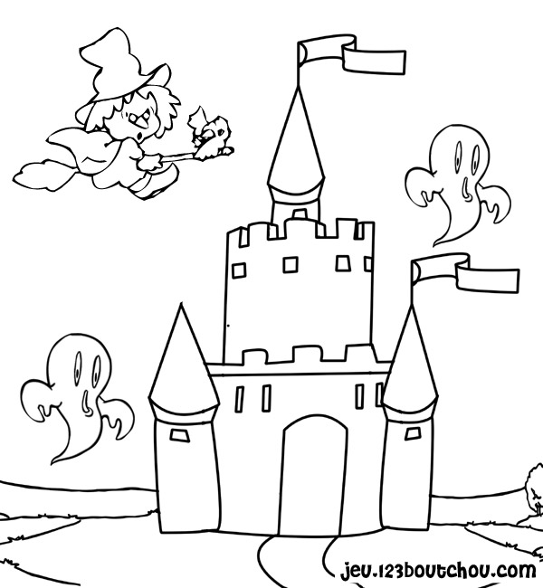 dessin à colorier chateau imprimer gratuit