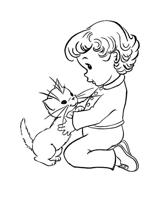 coloriage bebe chaton imprimer