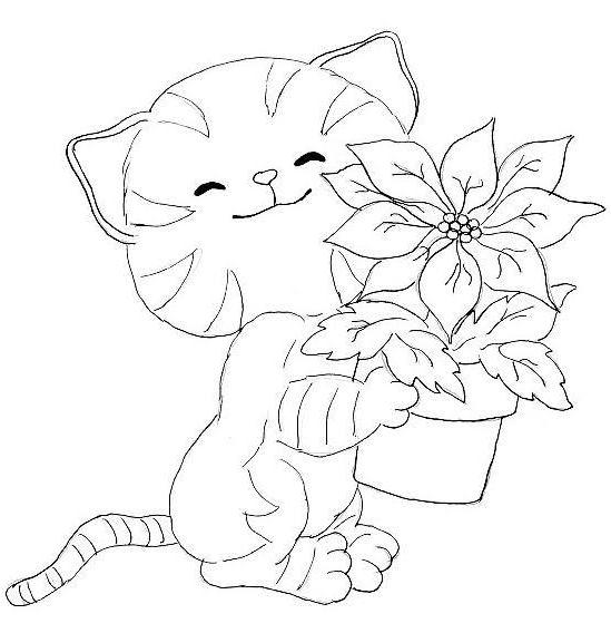 coloriage à dessiner de chaton trop mignon en ligne