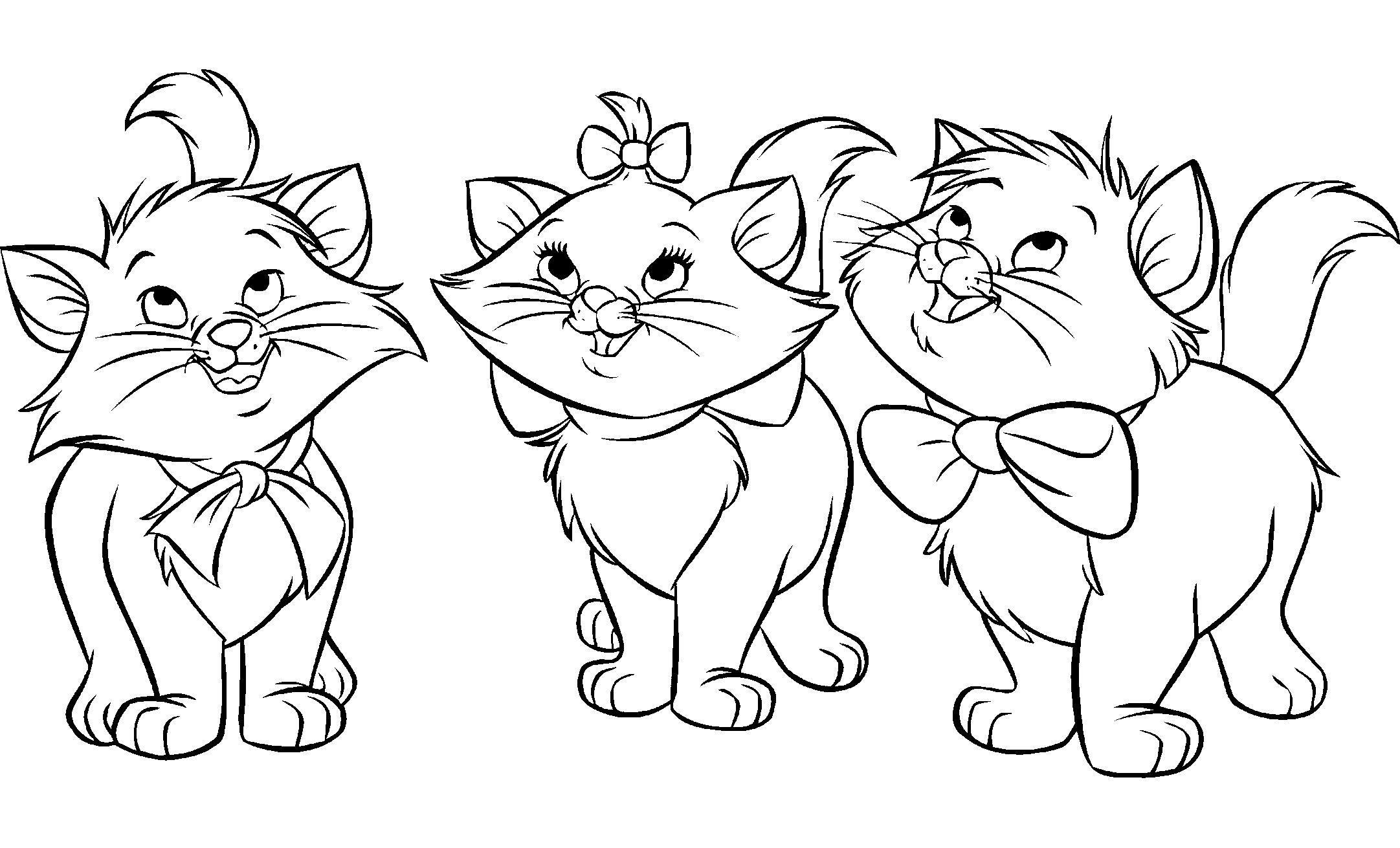 coloriage à dessiner chaton et sa maman