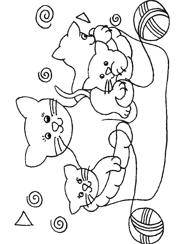 Coloriage Famille Chat.Dessin Chatons Trop Mignon