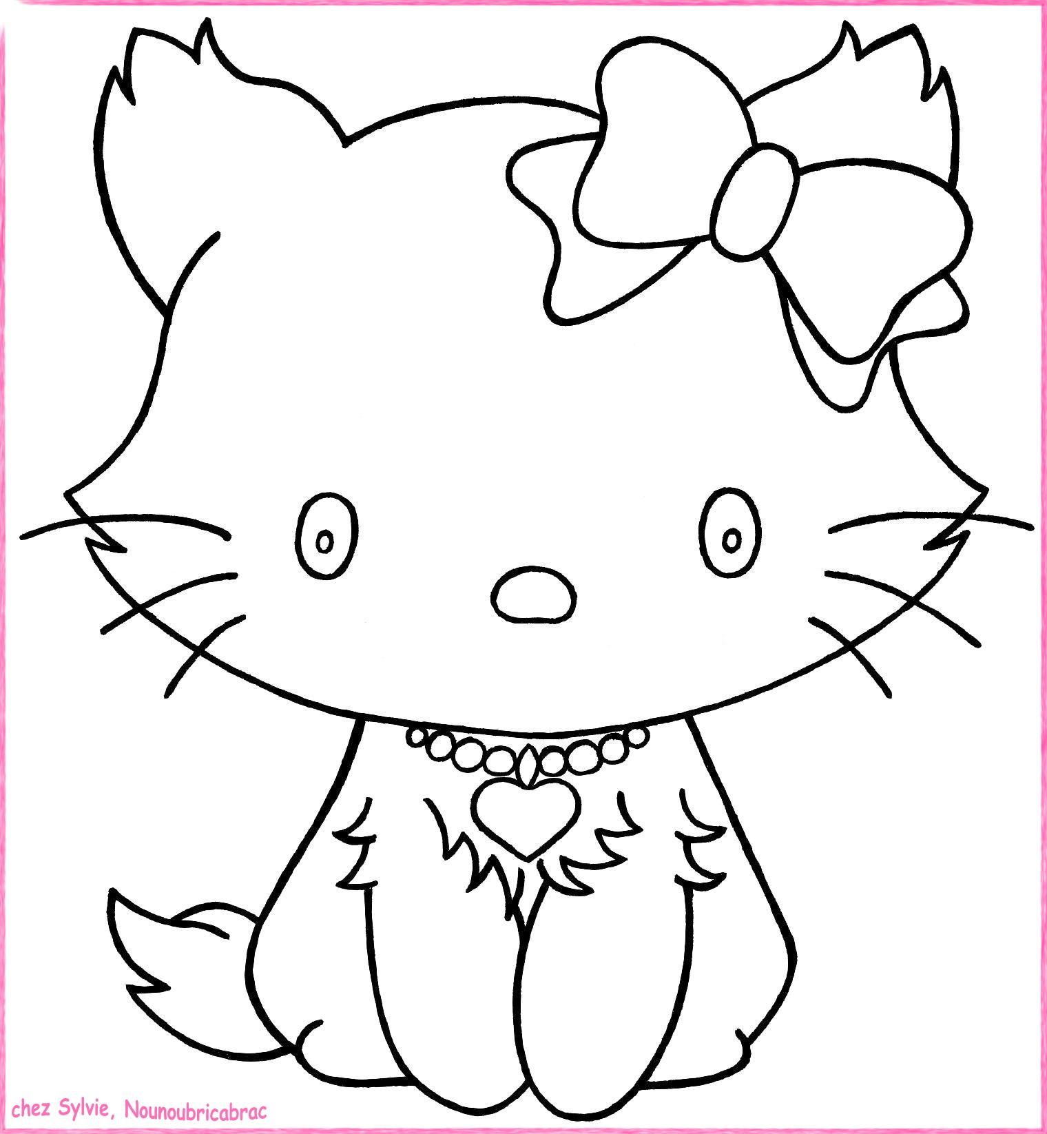 dessin à colorier de chat et chaton a imprimer