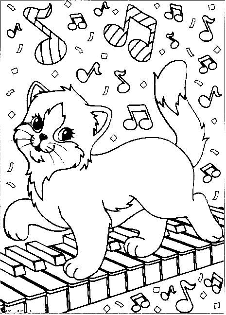 dessin à colorier chaton et chiot