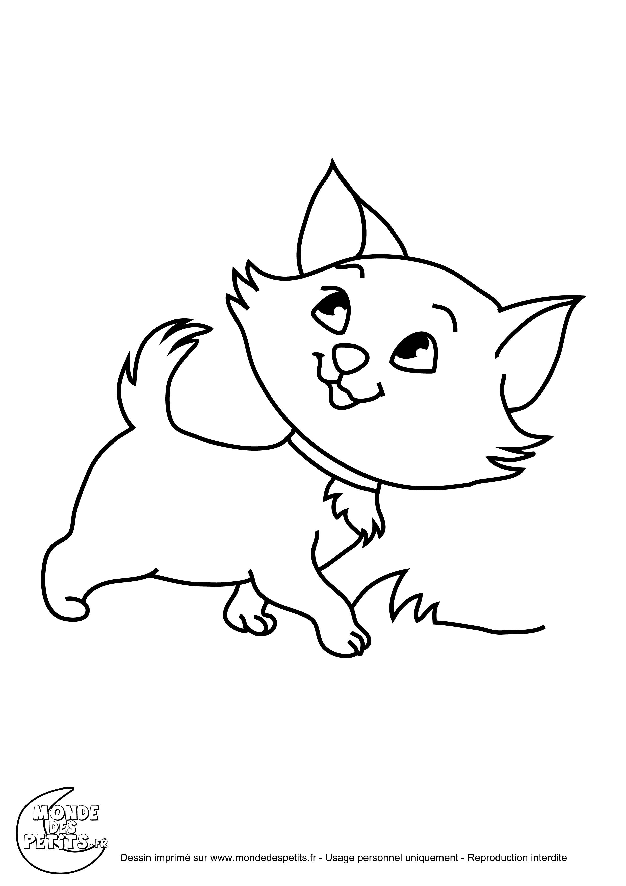 dessin à colorier chaton de noel