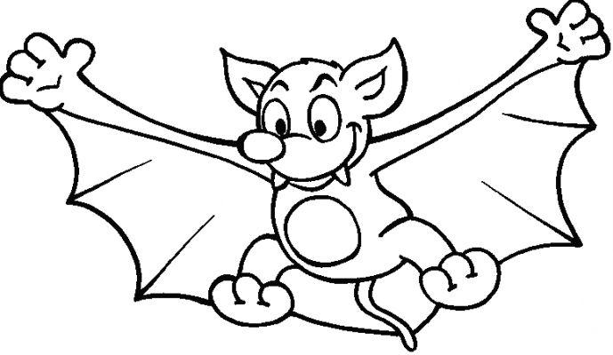 Картинка летучая мышь раскраска