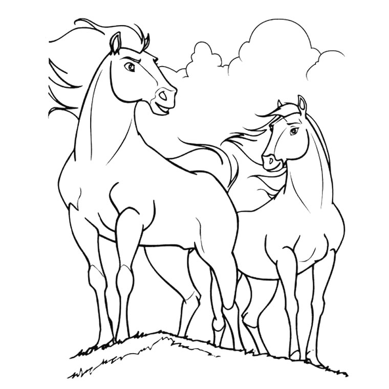 Coloriage cheval qui saute un obstacle - Coloriage chevaux ...