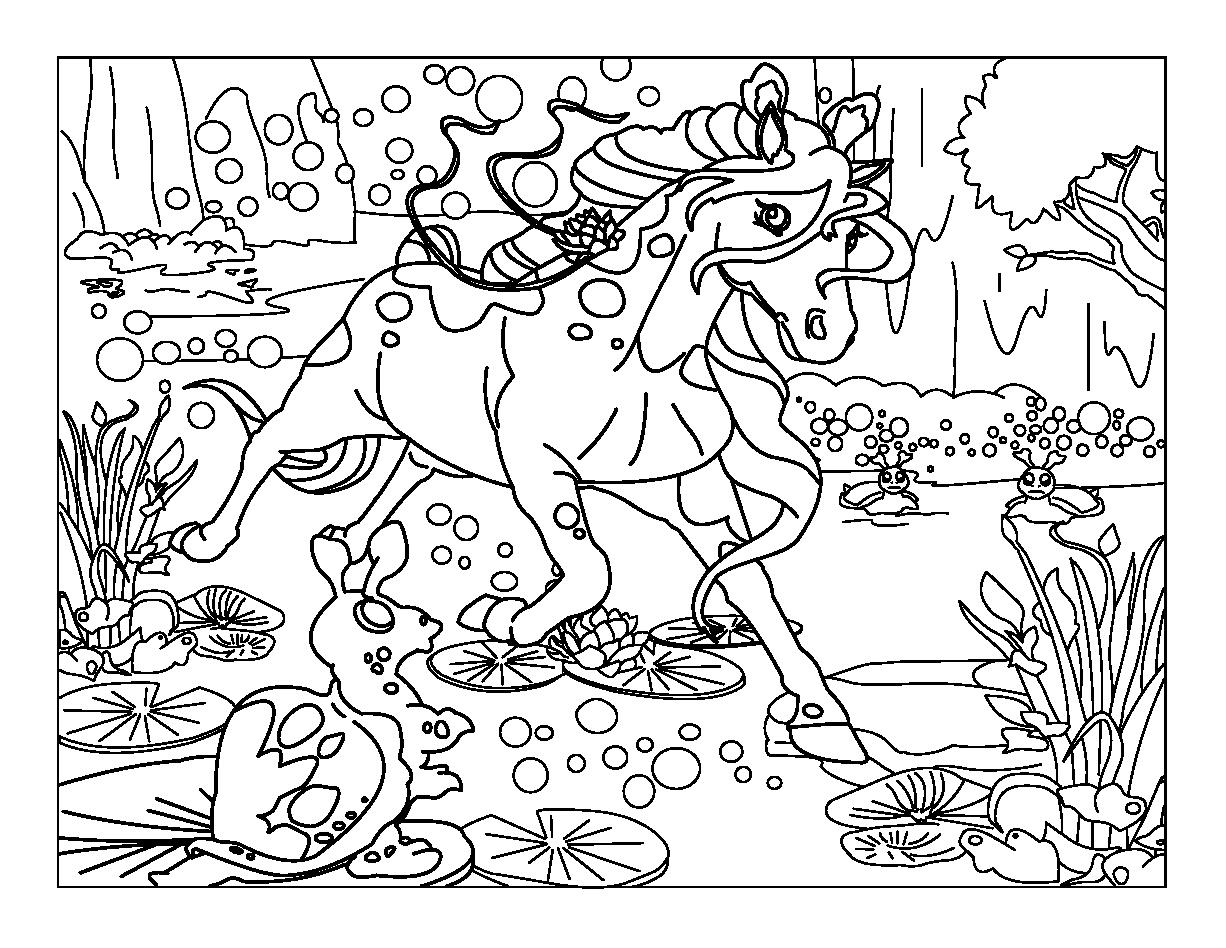 coloriage cheval couché